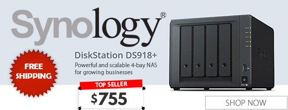 Synology DiskStation DS918+ 4 Bay Diskless NAS Quad Core CPU 4GB RAM - $ 755.00 AUD