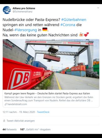 Der Pasta-Express sorgte online für Furore
