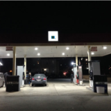 Pump island using 75 Watt LED canopy light LEDRADIANT