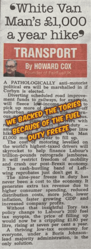 Howard Cox Backing Tories in 2019 Election in the Sun