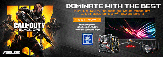 ASUS Promotion - Buy an eligible* ASUS product or an ASUS motherboard plus an Intel processor combo get Call of Duty Black Ops 4 FREE