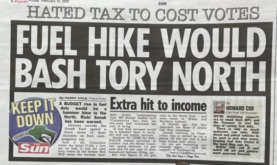 Sun: Fuel hike would bash Tory North
