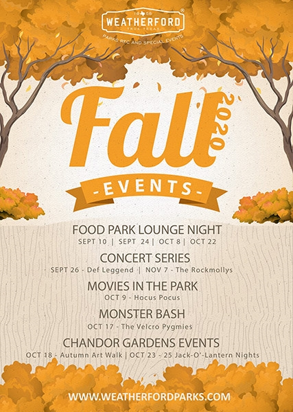 Fall Events Flyer - City of Weatherford