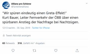 Wir spüren einen Greta Effekt, sagt Kurt Bauer, Leiter Fernverkehr der ÖBB