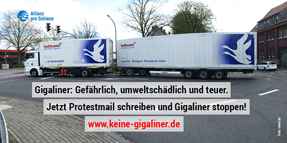 Protestmail schreiben: Gigaliner-Strecken streichen!