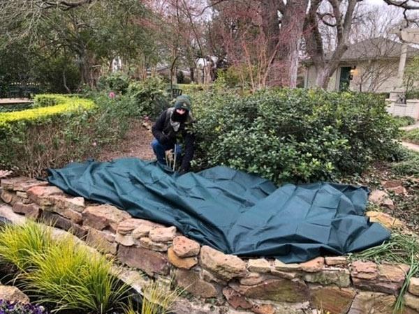 Staff preparing Chandor Gardens for the deep freeze weather