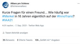 Kurze Fragen für einen Freund... Wie häufig war #Merkel in 16 Jahren eigentlich auf der #InnoTrans?